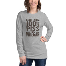 Load image into Gallery viewer, Contents 100% Piss and Vinegar Long Sleeve Tee Unisex