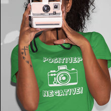Load image into Gallery viewer, Woman wearing funny t-shirt Positive Negative from Shirty Store