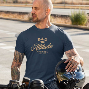 Tattooed man wearing funny and sarcastic Bad Attitude apparel t-shirt from Shirty Store