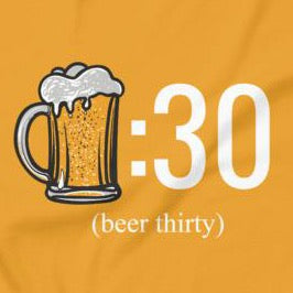 Close up of funny Beer Thirty t-shirt from Shirty Store