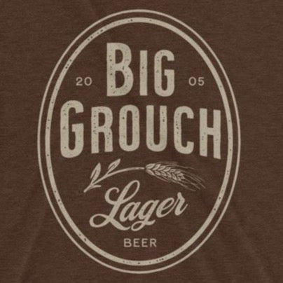 Close up of funny Big Grouch Lager t-shirt from Shirty Store