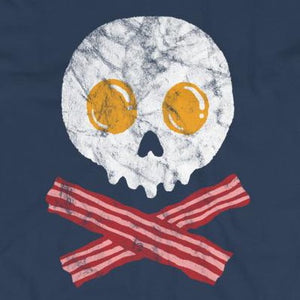 Close up of funny breakfast pirate skull crossbones t-shirt from Shirty Store
