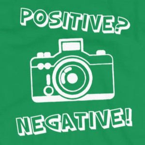 Close up of funny t-shirt Positive Negative from Shirty Store