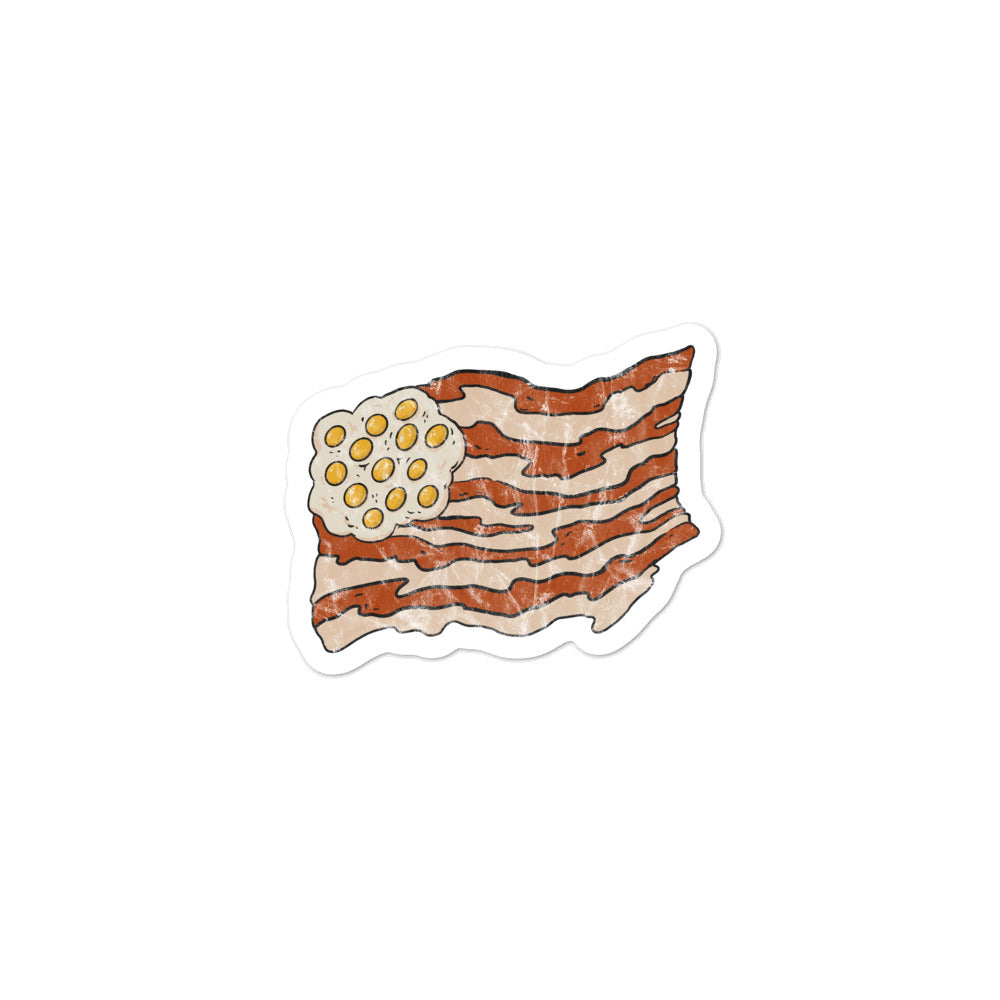 Bacon and eggs flag stickers