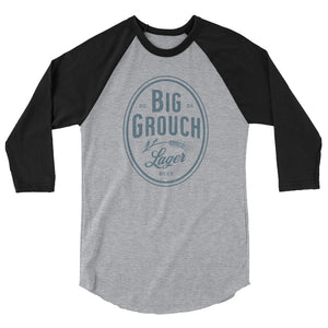 Big Grouch Lager 3/4 sleeve raglan funny shirt black and grey