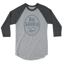 Load image into Gallery viewer, Big Grouch Lager 3/4 sleeve raglan funny shirt heather grey on grey