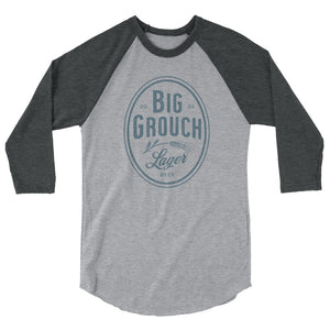 Big Grouch Lager 3/4 sleeve raglan funny shirt heather grey on grey