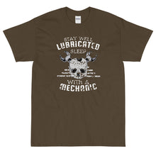 Load image into Gallery viewer, Olive funny sarcastic Stay Well Lubricated Sleep with a Mechanic t-shirt from Shirty Store