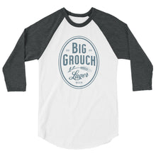 Load image into Gallery viewer, Big Grouch Lager 3/4 sleeve raglan funny shirt grey and white