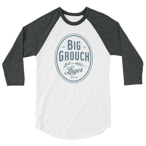 Big Grouch Lager 3/4 sleeve raglan funny shirt grey and white