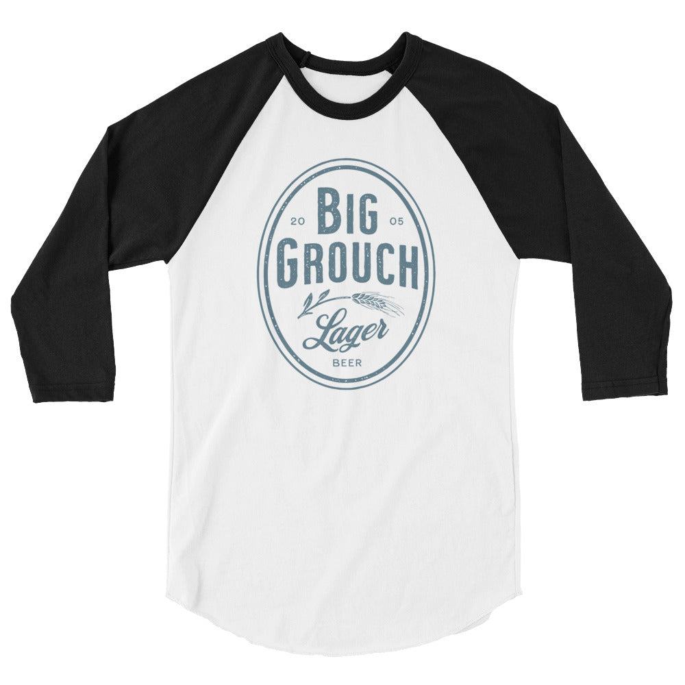 Big Grouch Lager 3/4 sleeve raglan funny shirt black and white