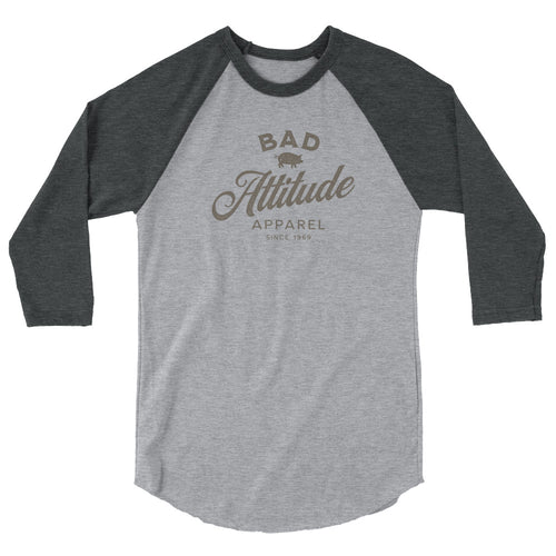 Bad Attitude 3/4 sleeve raglan funny shirt heather grey and black