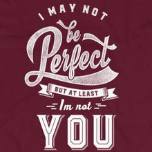 Load image into Gallery viewer, Close up of sarcastic I May Not Be Perfect But I'm Not You t-shirt from Shirty Store
