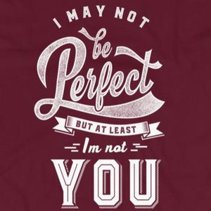 Close up of sarcastic I May Not Be Perfect But I'm Not You t-shirt from Shirty Store
