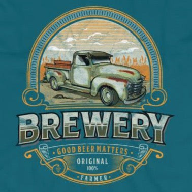 Close up of vintage retro old truck brewery t-shirt from Shirty Store