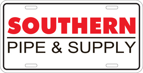 Southern Pipe Metal License Plate