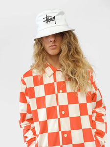 Big Logo Bucket Hat and Checker Coach Jacket