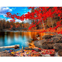 Red Leaves by the Lake - DIY Painting By Numbers Kits