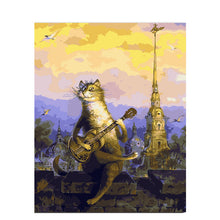 Cat Playing Guitar - DIY Painting By Numbers Kit