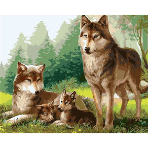 Wolf Family - DIY Painting By Numbers Kit