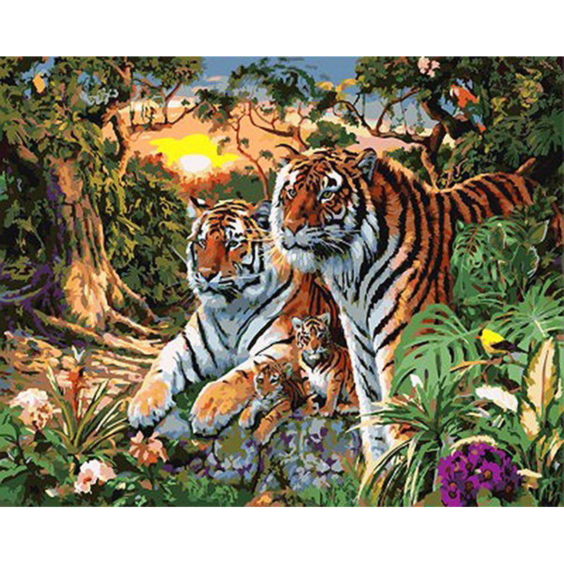 Family Of Tigers - DIY Painting By Numbers Kit