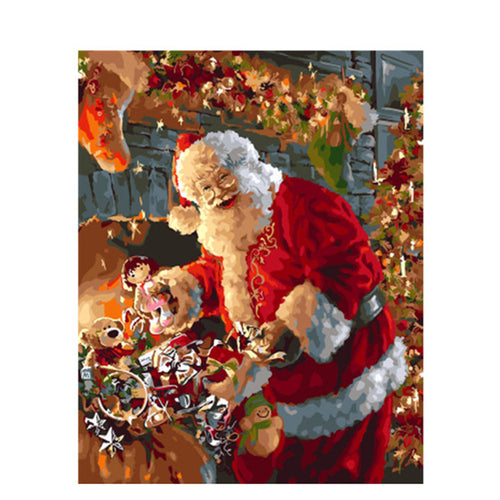 Laughing Santa With The Gifts - DIY Painting By Numbers Kit