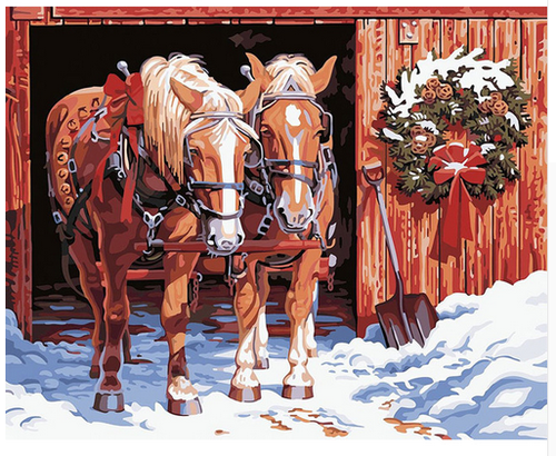 Horses in Winter - DIY Painting By Numbers Kit