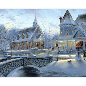 White Snowy Town - DIY Painting By Numbers Kits