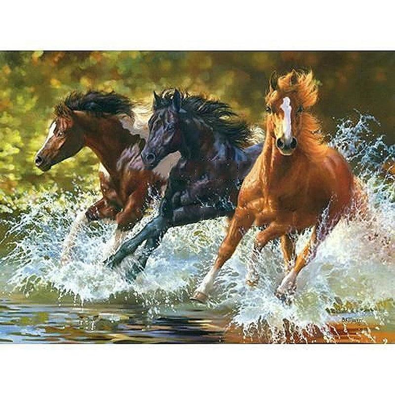 Three Horses Running - DIY Painting By Numbers Kits