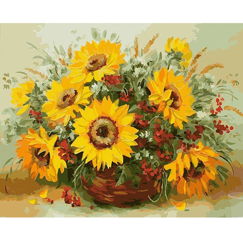 Beautiful Flowers in a Vase - DIY Painting By Numbers Kits
