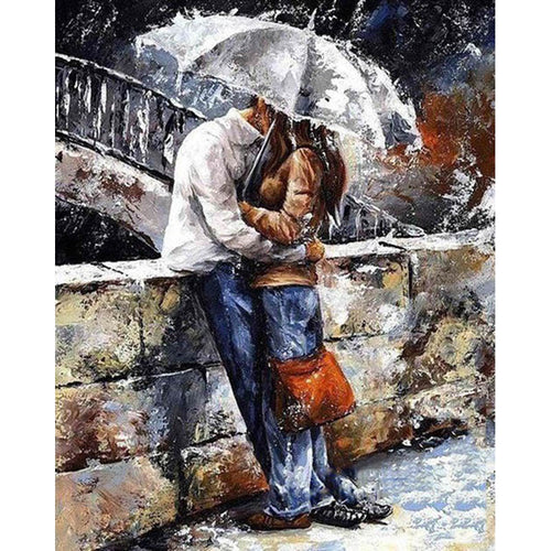 A Couple In The Rain - DIY Painting By Numbers Kit