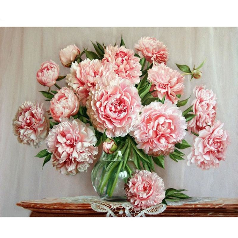 Pink Roses Vase - DIY Painting By Numbers Kits