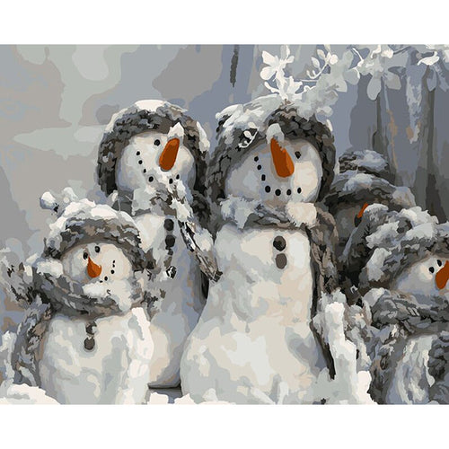 Family Of Snowmen - DIY Painting By Numbers Kit
