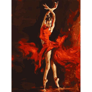 Dancing Girl Red - DIY Painting By Numbers Kits