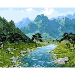 River in Mountains - DIY Painting By Numbers Kit