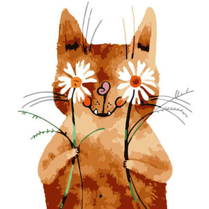Cat with Flower Eyes - DIY Painting By Numbers Kit