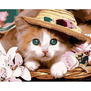 Kitten Wearing a Hat - DIY Painting By Numbers Kit