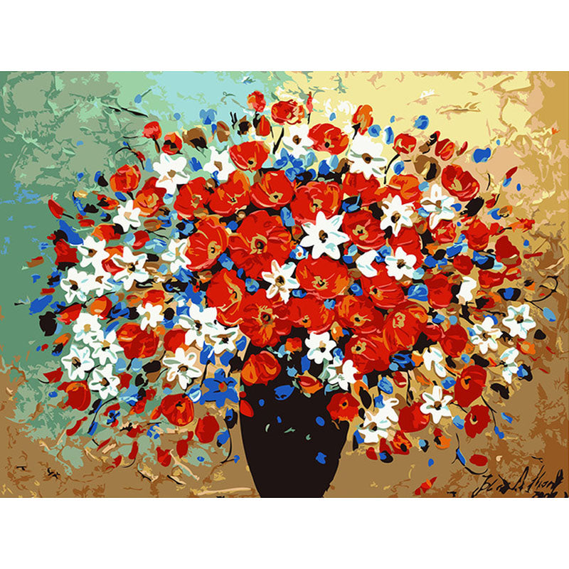 Red Flower Bouqet - DIY Painting By Numbers Kit