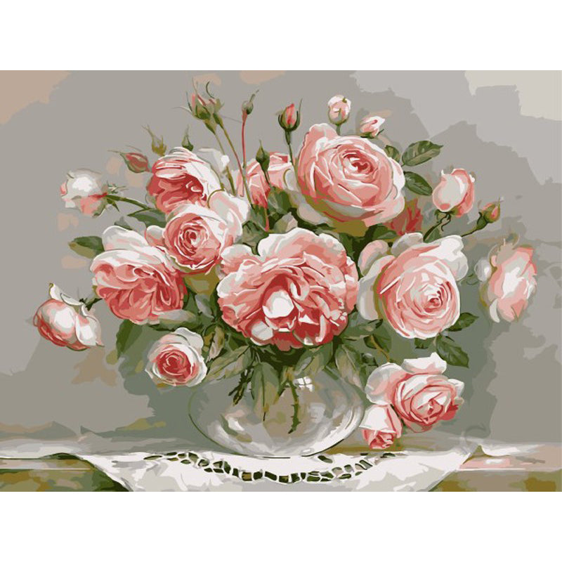 Pink Roses - DIY Painting By Numbers Kit