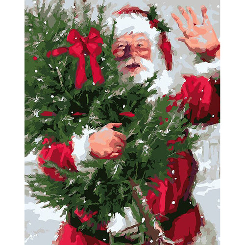 Santa With Christmas Tree - DIY Painting By Numbers Kit