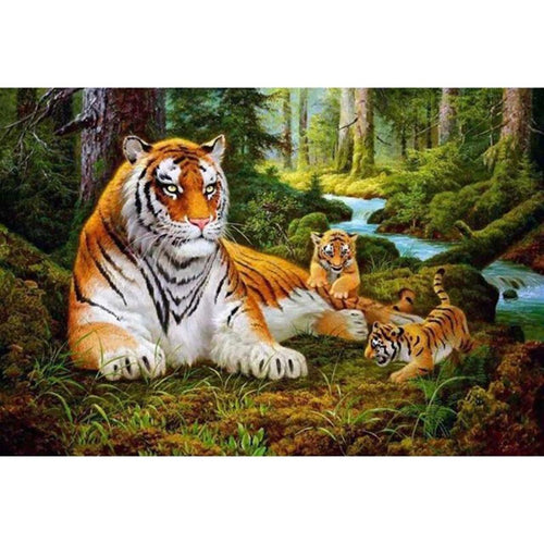 Tiger Family - DIY Painting By Numbers Kit