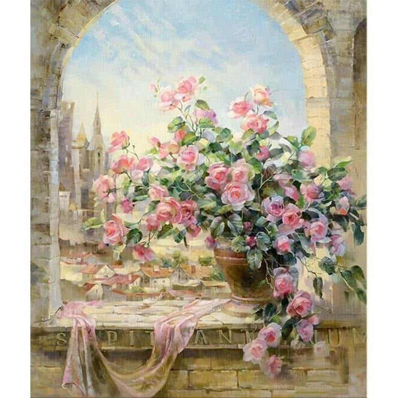 Flower Vase on a Balcony - DIY Painting By Numbers Kits