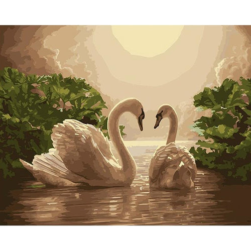Swan Couple in a Pond - DIY Painting By Numbers Kits