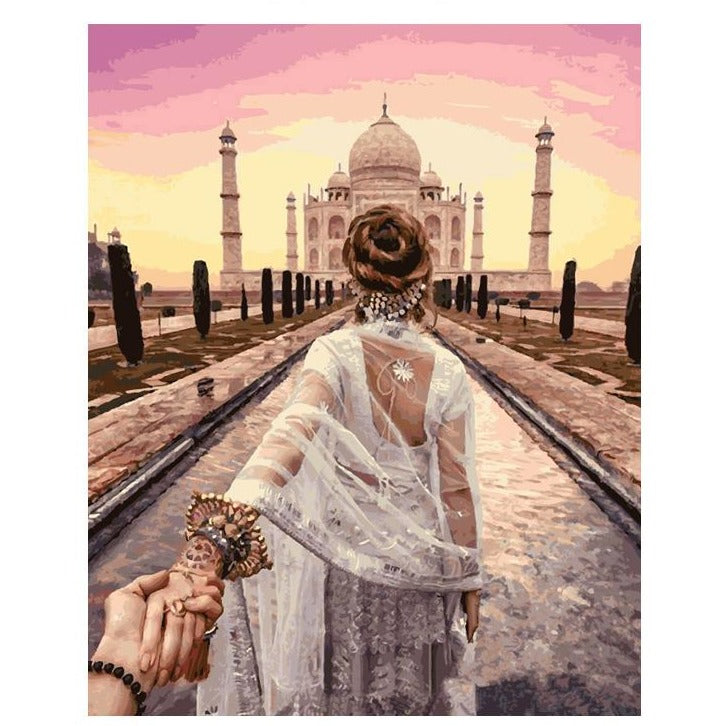 Holding Hands Taj Mahal - DIY Painting By Numbers Kits