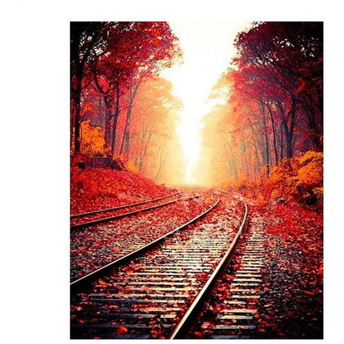 Autumn Railroad - DIY Painting By Numbers Kit