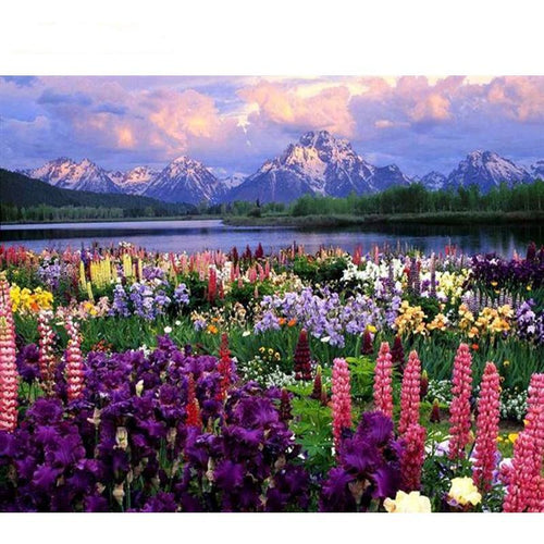 Flower Garden with a View - DIY Painting By Numbers Kits