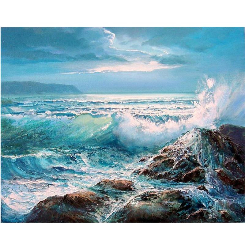 Waves Crashing - DIY Painting By Numbers Kit
