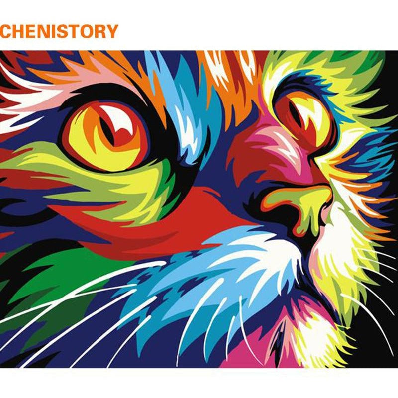 Colorful Cat Animals - 40x50 - DIY Painting By Numbers Kits