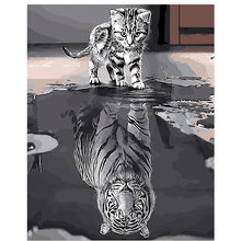 Reflection Cat Animals DIY Painting By Numbers Kit