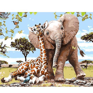 Elephant Giraffe DIY Painting By Numbers Kit